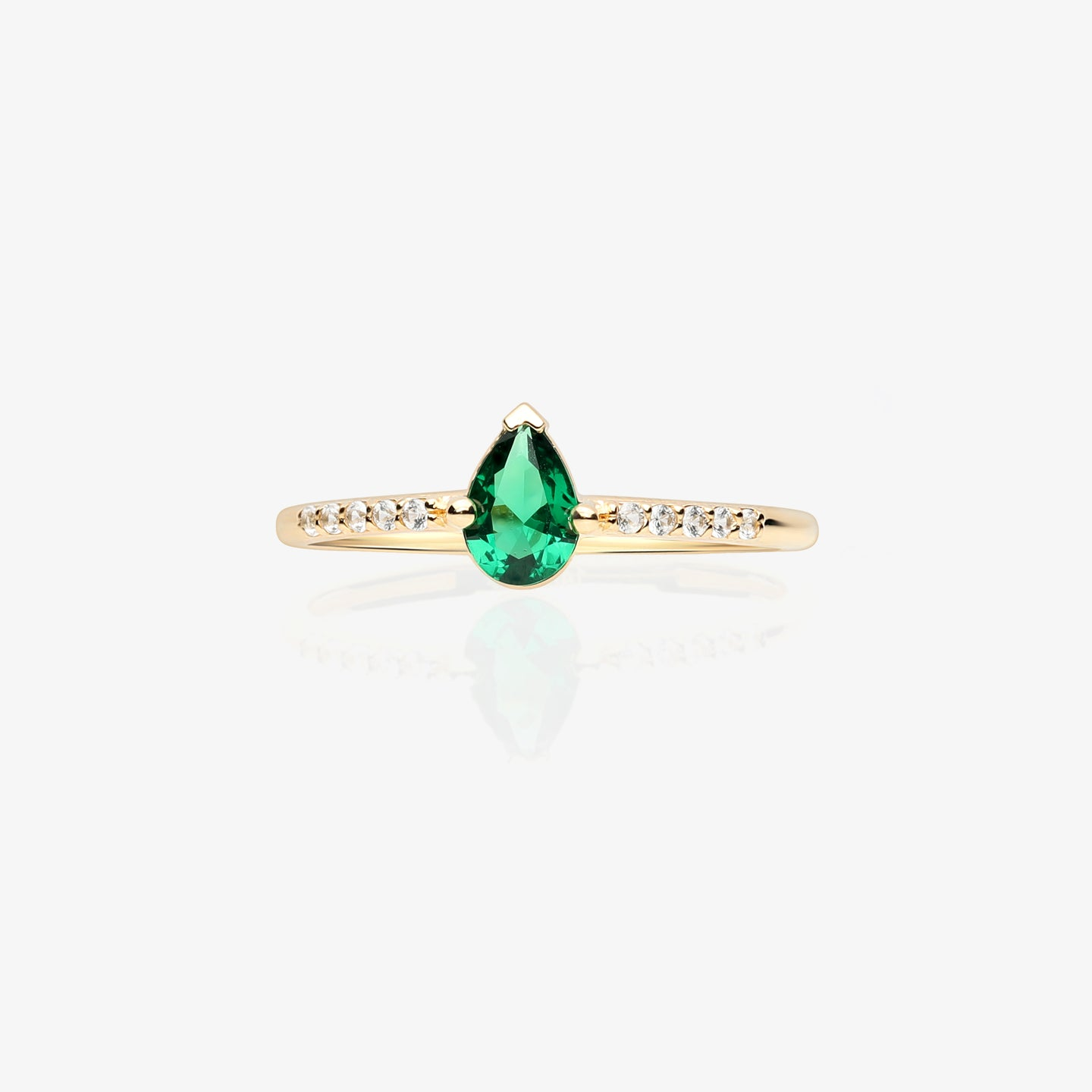 Green Pear Shape Solitaire Ring - estellacollection