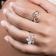 Load image into Gallery viewer, Laila - Diamond Flower Ring In Gold And Pearls - estellacollection