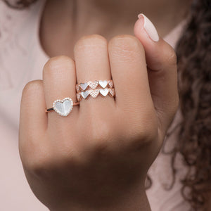 Heart Ring With Pearls And Diamonds - estellacollection