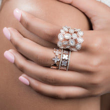 Load image into Gallery viewer, Clover Shaped Gold And Diamond Stacked Band With Pearls - estellacollection