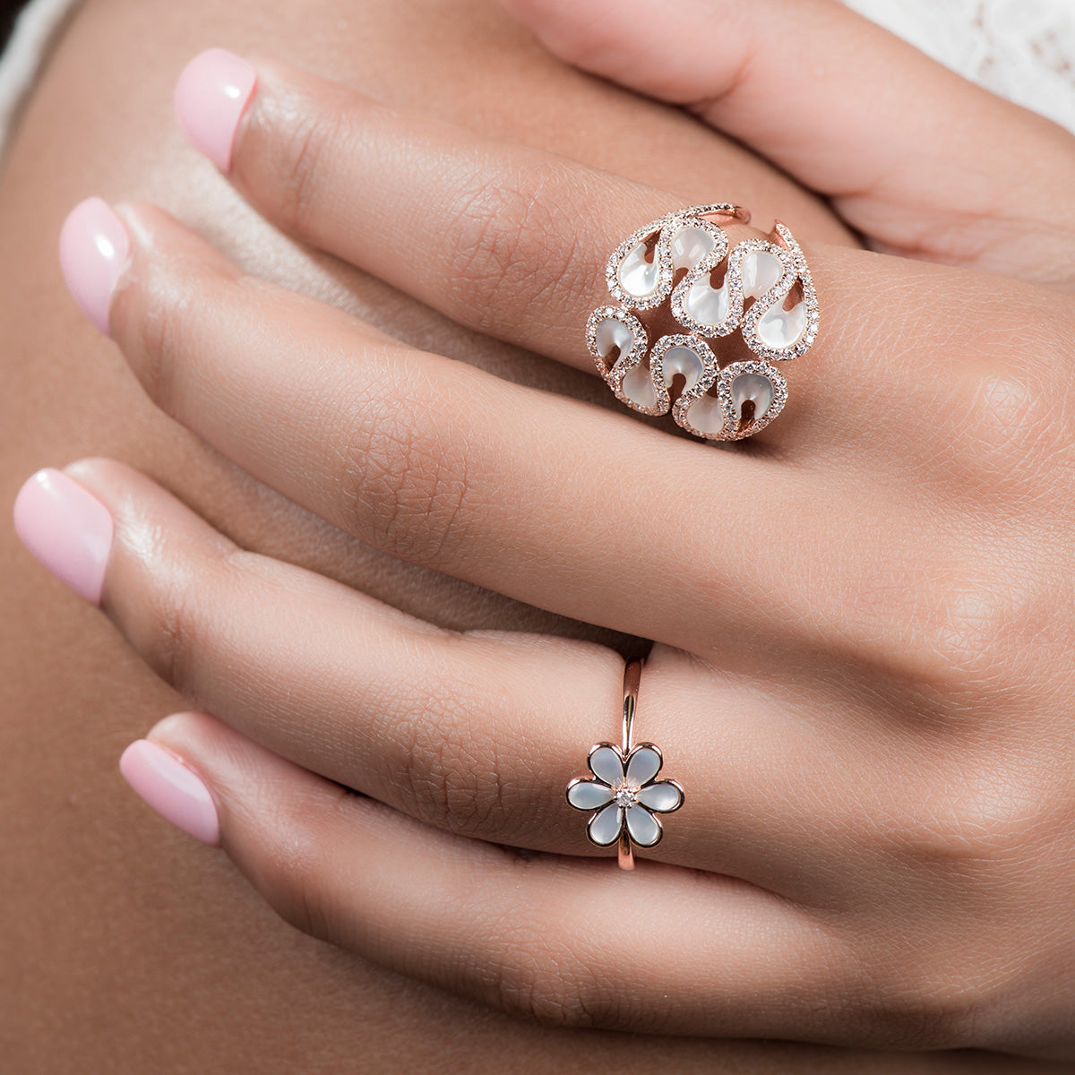 Diamond Flower Ring In Gold And Pearls - estellacollection