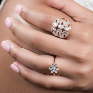 Diamond Statement Ring With Mother Of Pearl - estellacollection