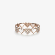 Load image into Gallery viewer, Heart Shape Diamond Stacking Band With Pearls - estellacollection