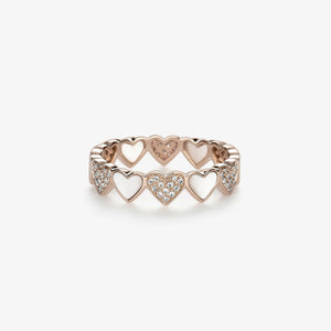 Heart Shape Diamond Stacking Band With Pearls - estellacollection