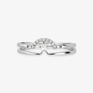 Gold And Diamond Layering Band Ring - estellacollection