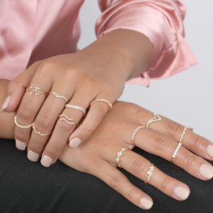 Diamond Scallop Stacking Ring - estellacollection