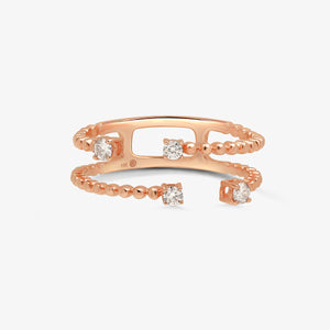Diamond Double Band Fashion Ring - estellacollection
