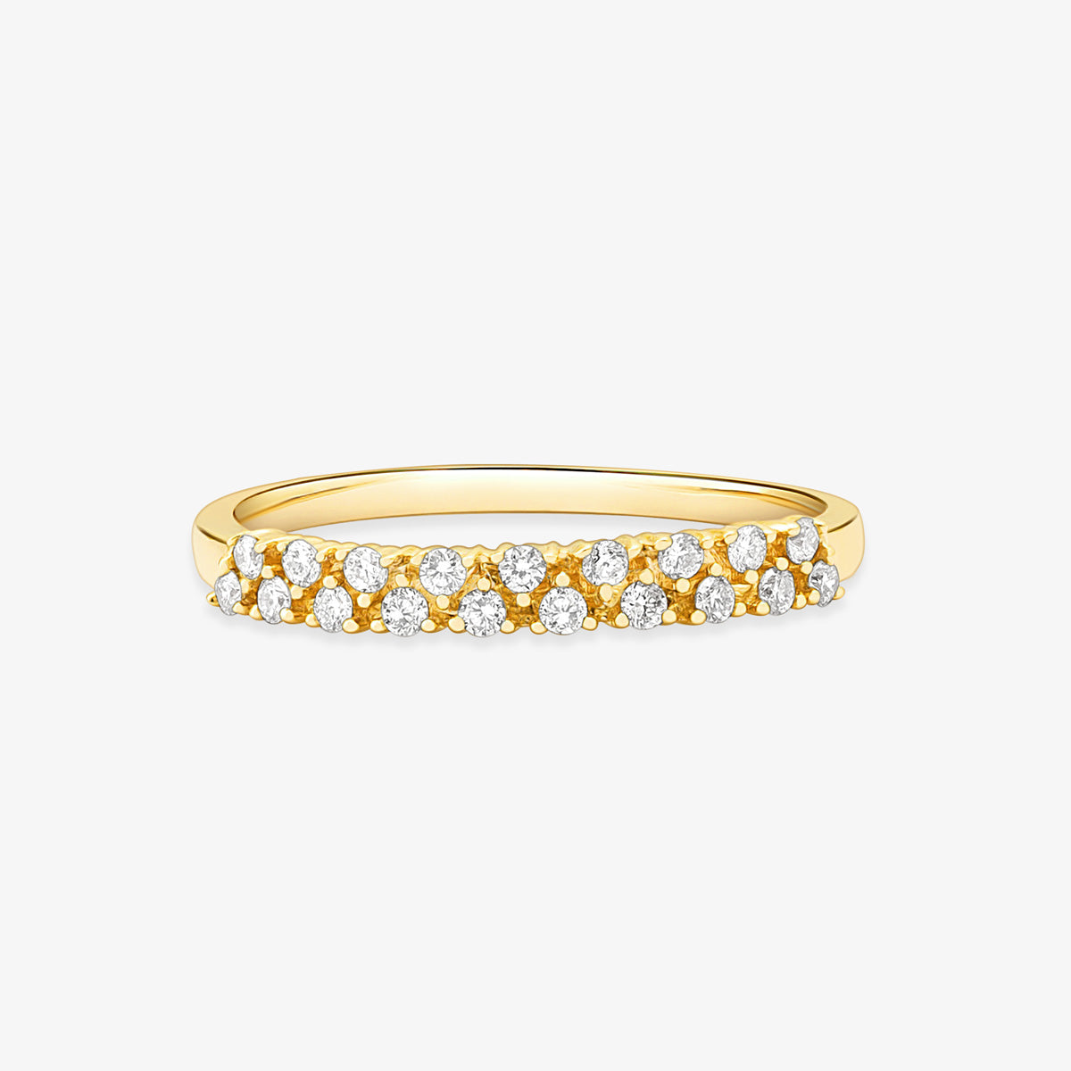 2 Row Stackable Diamond Ring In Solid Gold - estellacollection