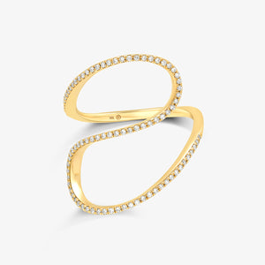 Sculptural Gold And Diamond Statement Ring - estellacollection