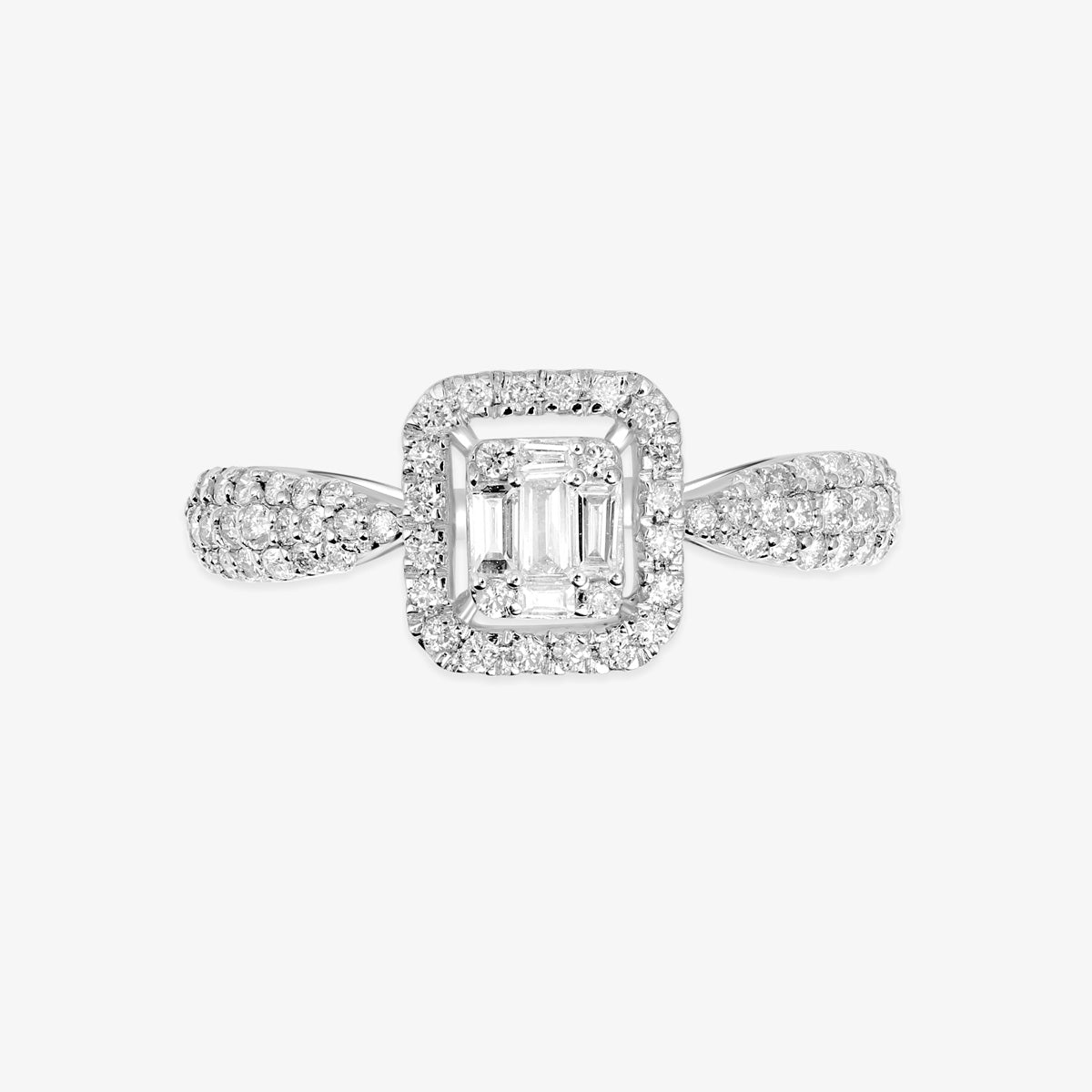 Cushion Cut Halo Diamond Ring with Baguette And Round Diamonds - estellacollection