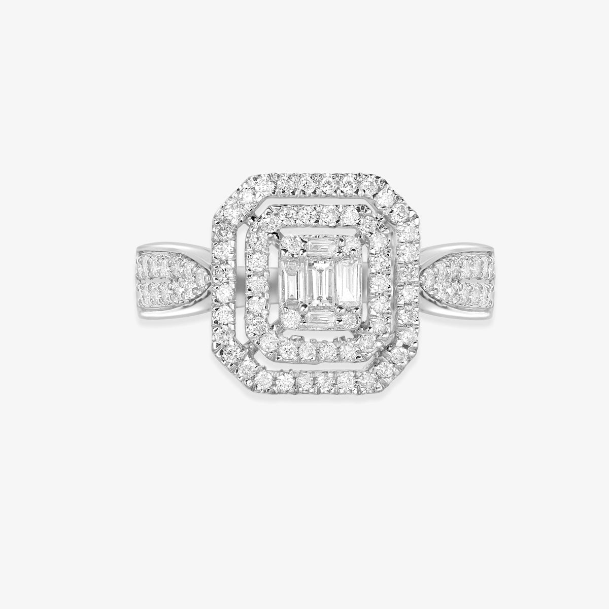 Double Halo Engagement Ring With Baguettes And Round Diamonds - estellacollection
