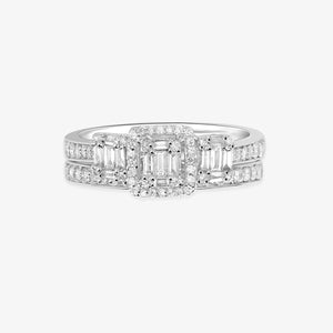 Multi-Baguette And Round Diamond 3-Stone Engagement Ring With A Band - estellacollection