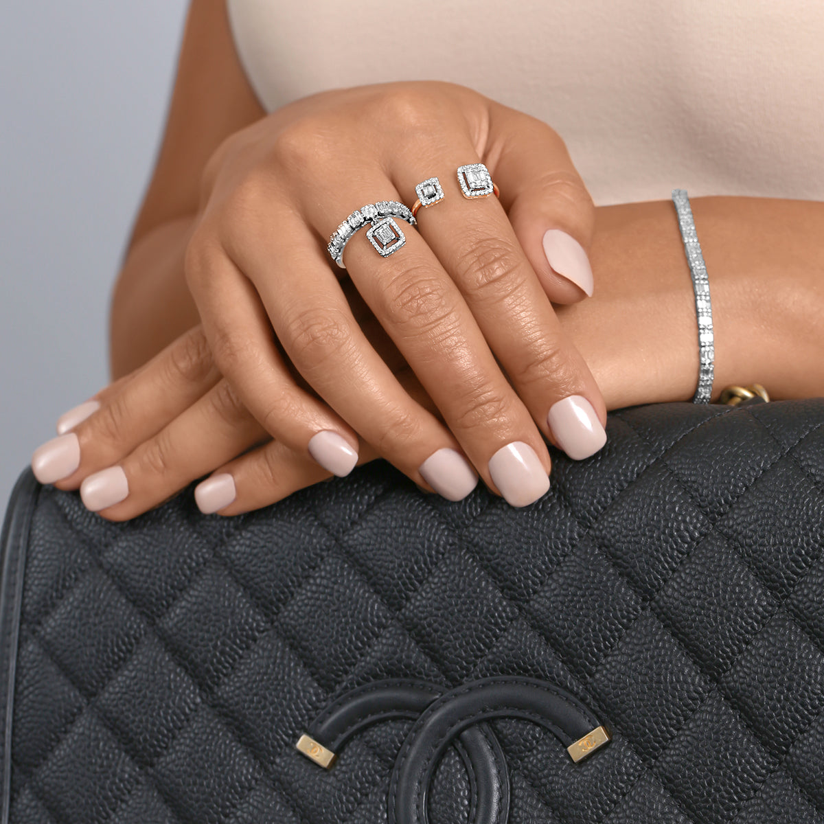 Baguette & Round Diamond Open Cuff Ring - estellacollection