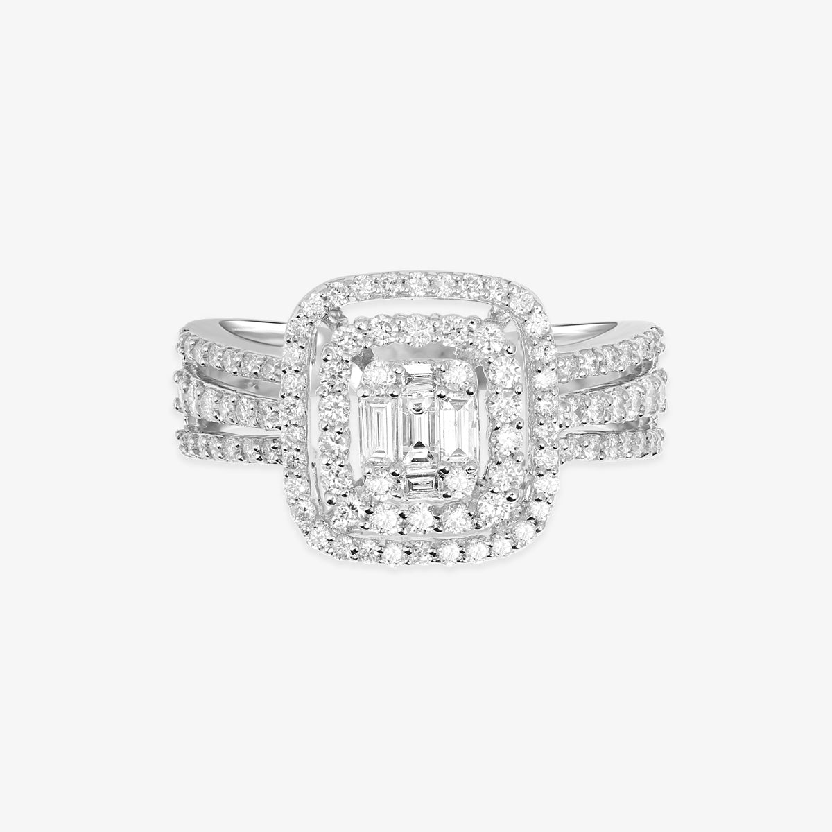 Diamond Wedding Ring With Halo And A Split Shank - estellacollection