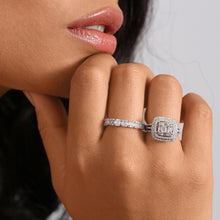 Load image into Gallery viewer, Double Cushion Cut Halo Engagement Ring With Baguettes And Round Diamonds - estellacollection