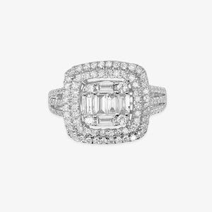 Double Cushion Cut Halo Engagement Ring With Baguettes And Round Diamonds - estellacollection