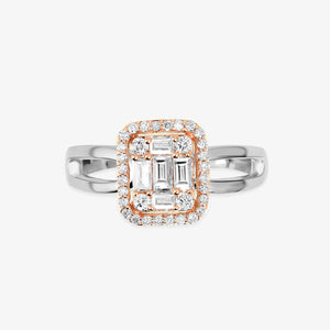 Two-Tone Diamond Engagement Ring With The Halo - estellacollection