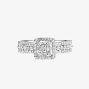 Princess Diamond Shape Engagement Ring With A Halo - estellacollection