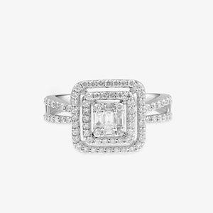 Double Cushion Cut Halo Diamond Engagement Ring - estellacollection