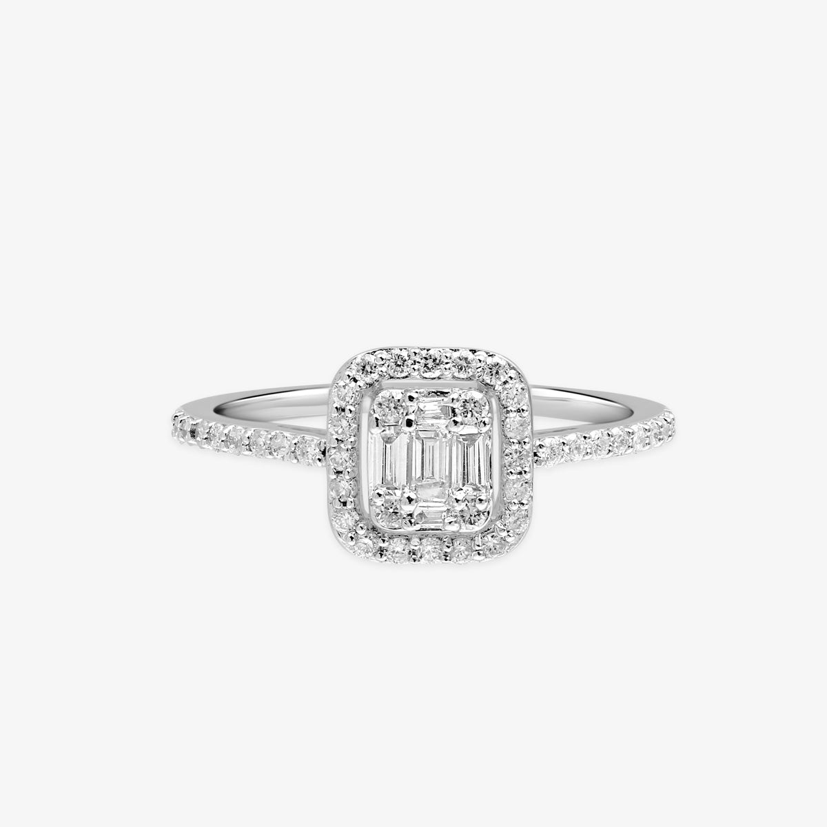 Baguette And Round Diamond Engagement Ring With The Cushion Halo - estellacollection