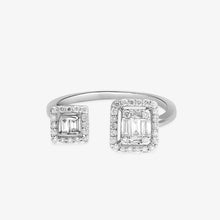 Load image into Gallery viewer, Baguette & Round Diamond Open Cuff Ring - estellacollection