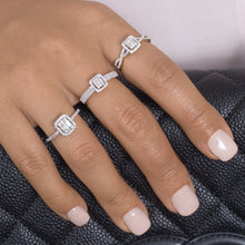 Load image into Gallery viewer, Baguette And Round Diamond Engagement Ring With The Cushion Halo - estellacollection