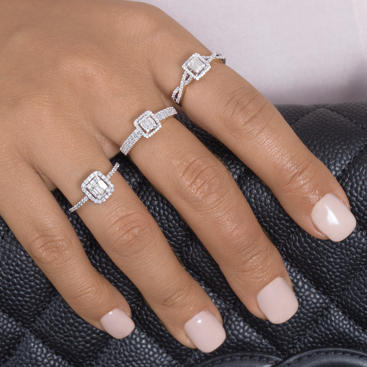 Round And Baguette Diamond Engagement Ring - estellacollection