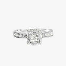 Load image into Gallery viewer, Halo Diamond Engagement Ring With Milgrain Detailed Shank - estellacollection
