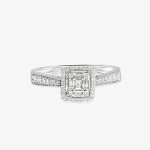Halo Diamond Engagement Ring With Milgrain Detailed Shank - estellacollection
