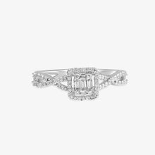 Load image into Gallery viewer, Halo Diamond Engagement Ring With Infinity-Style Shank - estellacollection