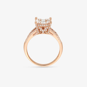 Princess Shape Round And Baguette Diamond Engagement Ring - estellacollection