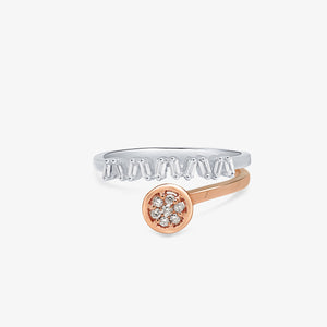 Two Tone Baguette And Round Diamond Stacking Ring - estellacollection