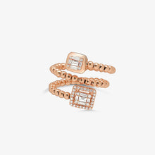 Load image into Gallery viewer, Round And Baguette Diamond Statement With A Solid Gold Beaded Band - estellacollection