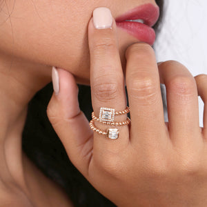 Round And Baguette Diamond Statement With A Solid Gold Beaded Band - estellacollection