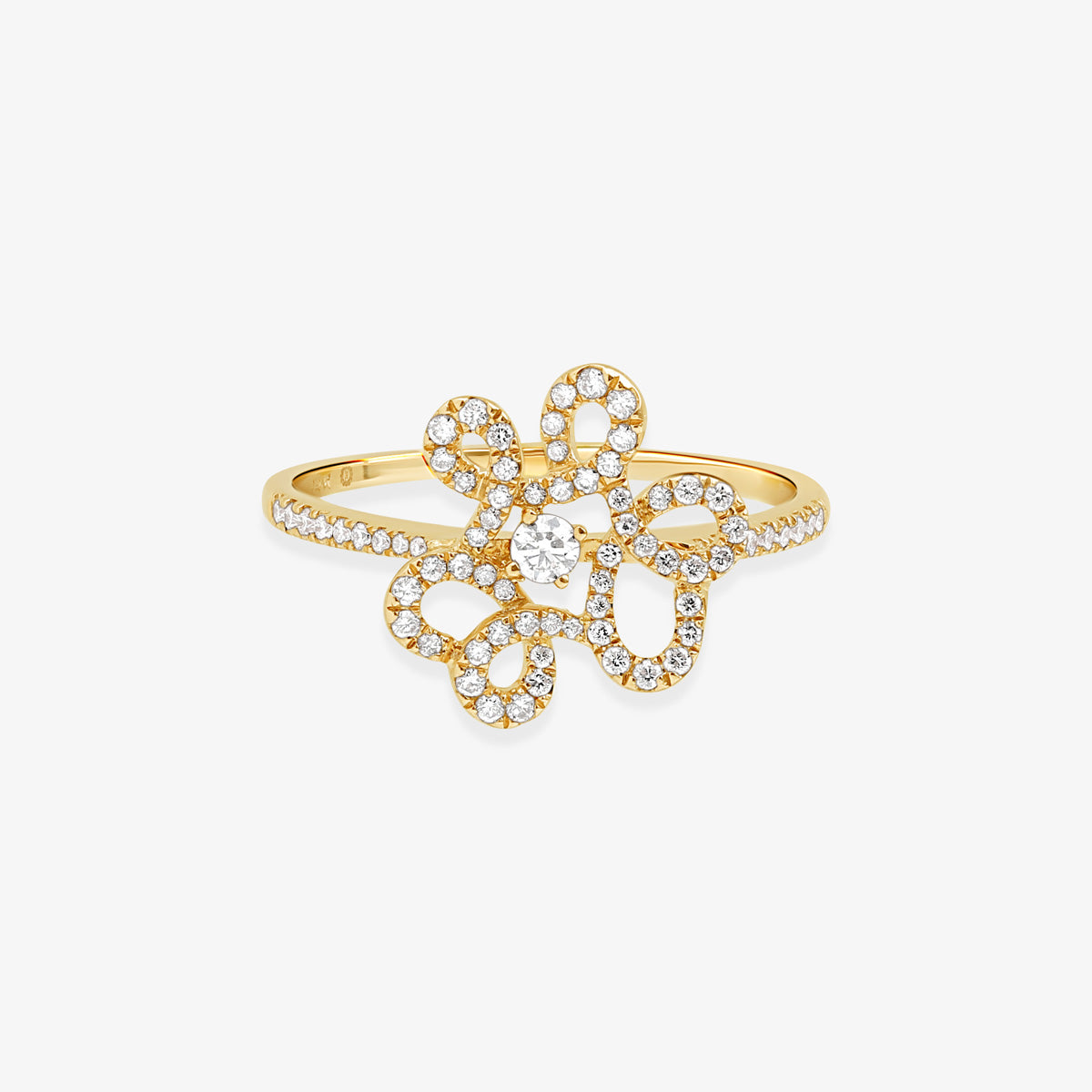 Loops Of Gold And Diamond Statement Ring - estellacollection
