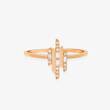 Load image into Gallery viewer, 3 Bars Of Baguette And Round Diamonds Stacking Ring - estellacollection