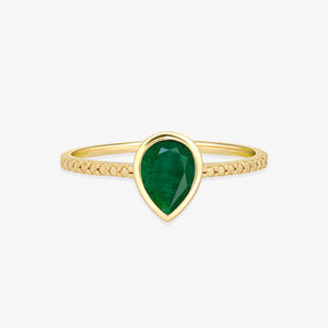 Pear Emerald Gemstone Ring - estellacollection