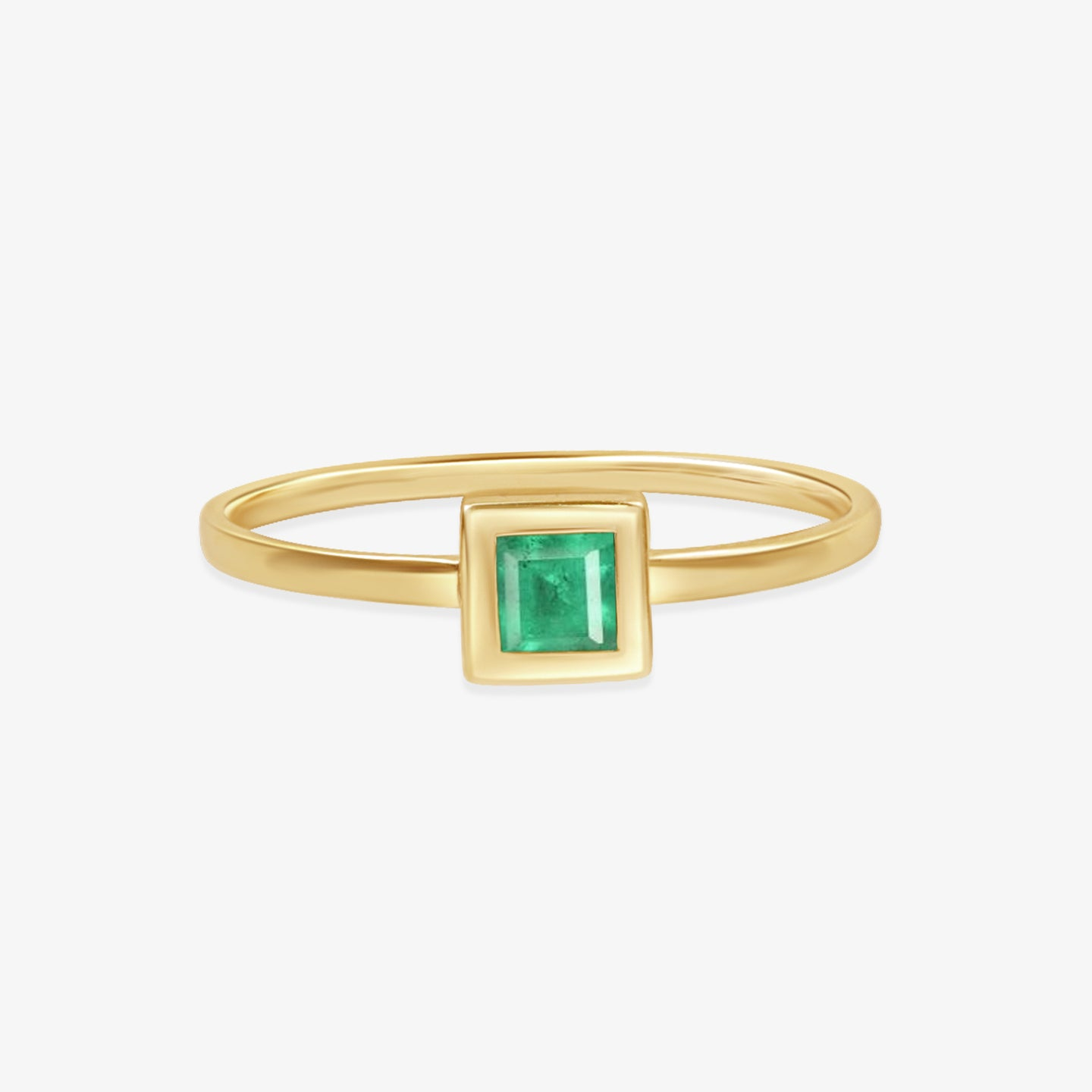 Princess Cut Natural Green Emerald Ring - estellacollection
