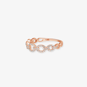 Glittering Diamond Cable Link 14k Gold Band - estellacollection