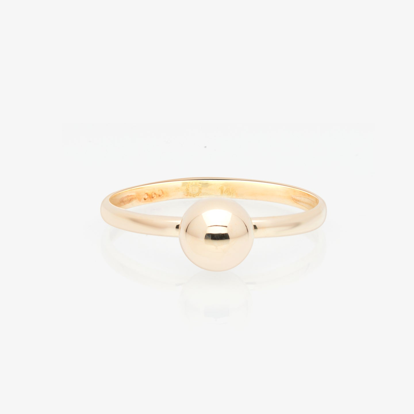 Sphere Solid Gold Solitaire Ring - estellacollection