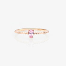 Load image into Gallery viewer, Pink Topaz Solitaire Beaded Stackable Ring - estellacollection