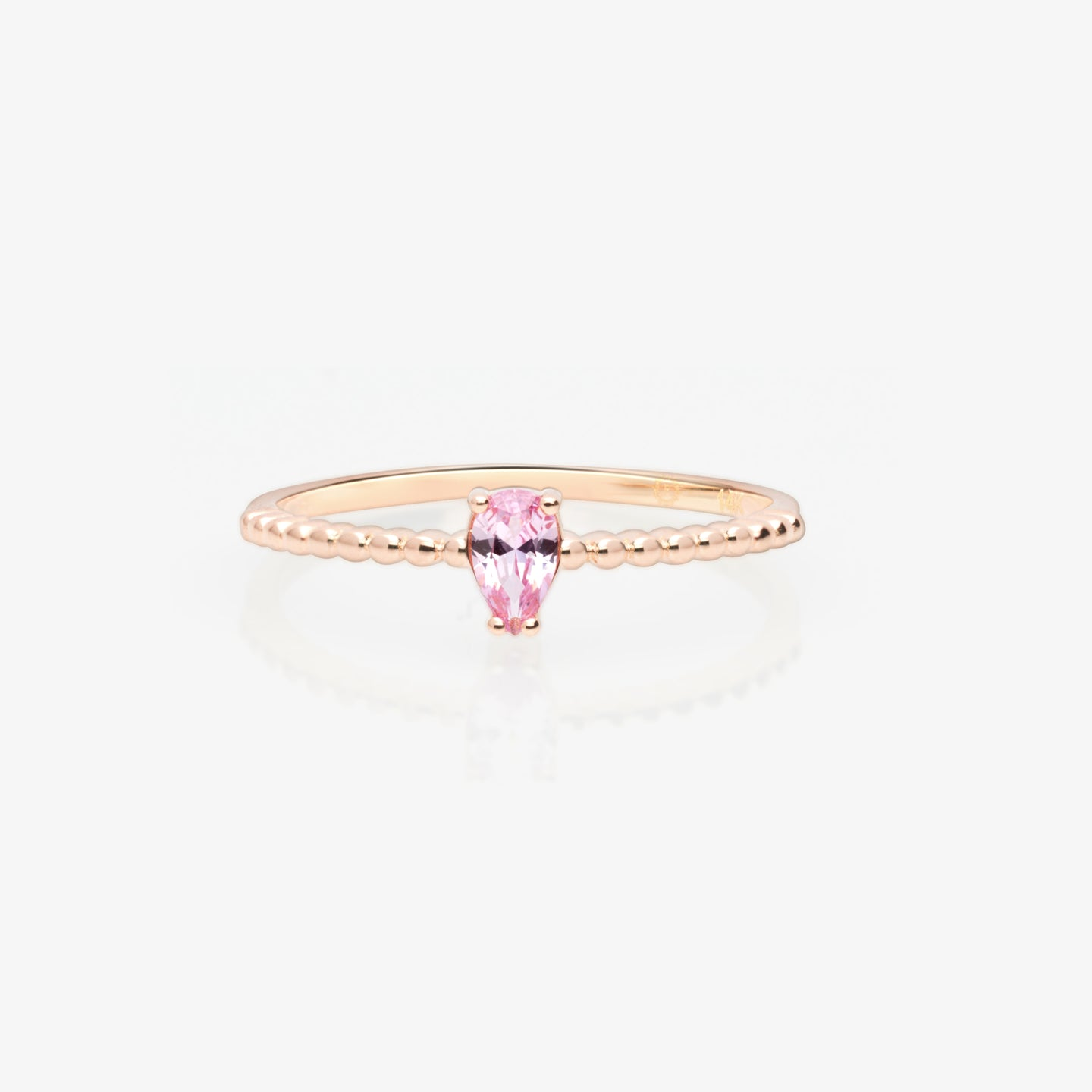 Pink Topaz Solitaire Beaded Stackable Ring - estellacollection