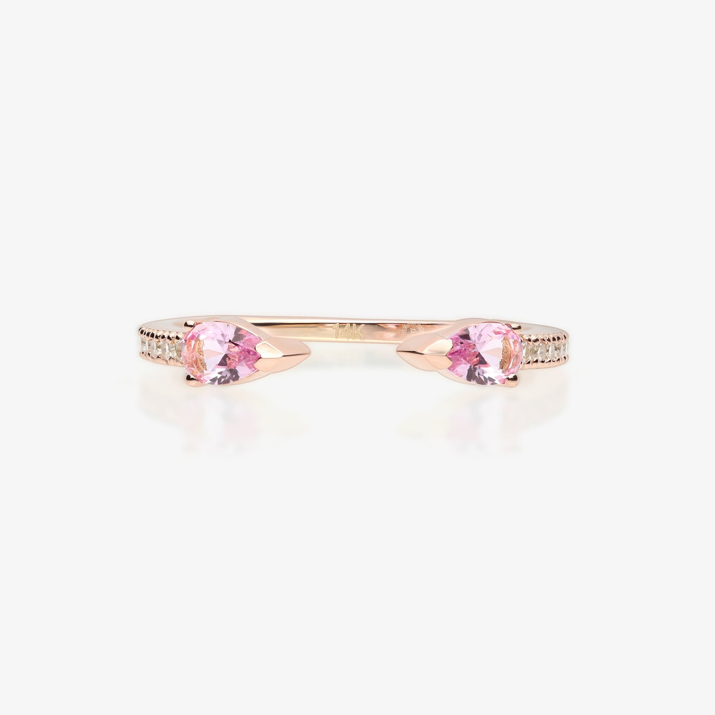 Pink Topaz Open Cuff Ring - estellacollection