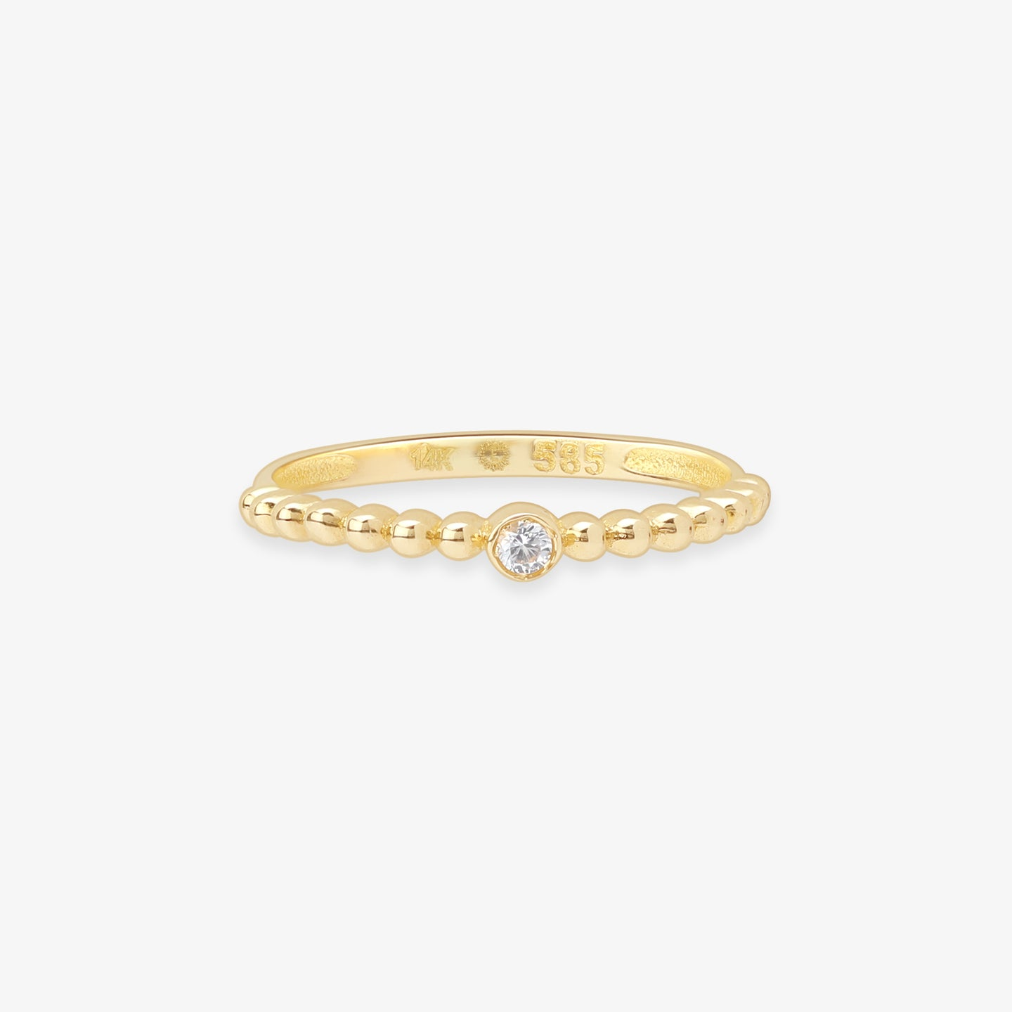 Ladies White Sapphire Solitaire Ring In Solid Gold Beaded Band - estellacollection