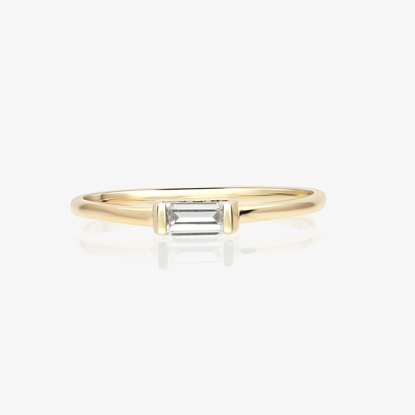 Stacking Ring With Clear Baguette - estellacollection