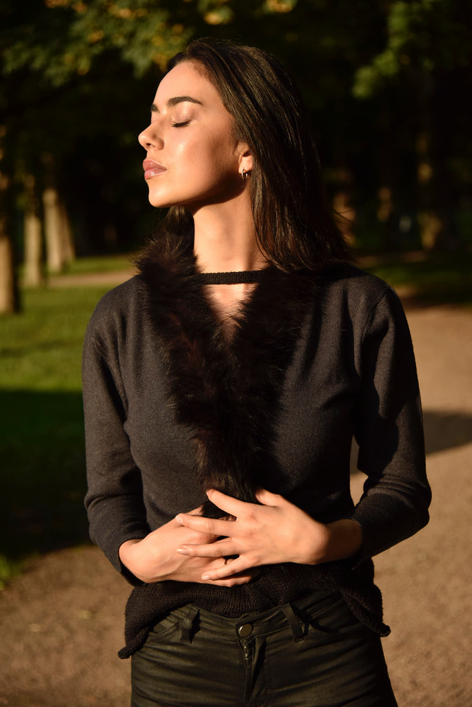 Cashmere bolero with fur