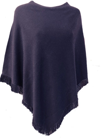 Cashmere poncho with short edge fringe