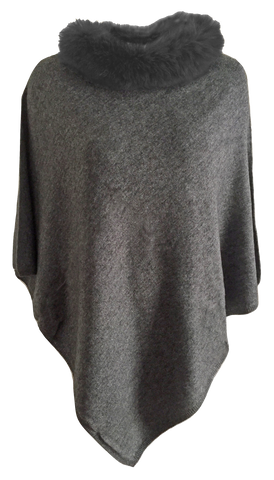 Cashmere poncho with fur collar grey