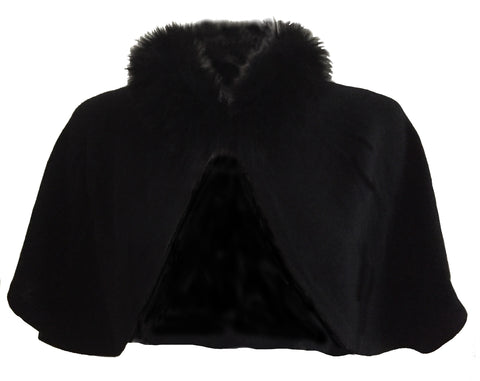 Cashmere cape with fur