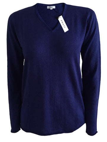 Cashmere silk fine gauge V neck premium t shirt sweater
